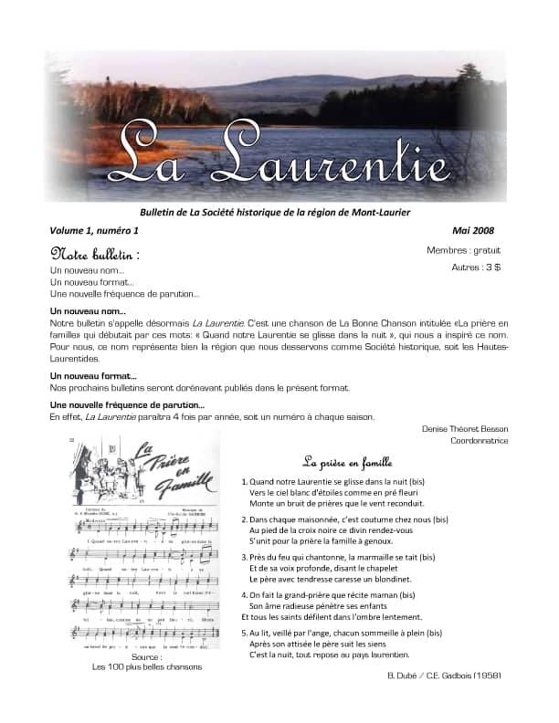 La Laurentie, volume 1 numŽro 1